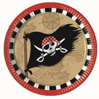 P/8 Platos Bandera Pirata 23Cm