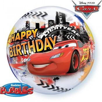 Globo Burbuja Cars Happy Bday