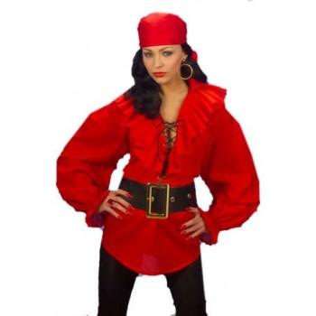 Camisa Pirata Roja Mujer