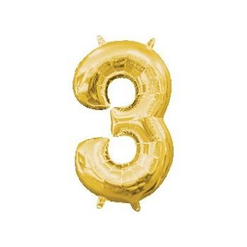 Mini Globo Numero 3 Oro