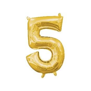 Mini Globo Numero 5 Oro