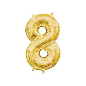 Mini Globo Numero 8 Oro
