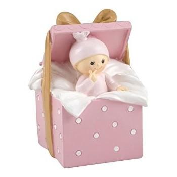 Figura Hucha Bebe Caja Rosa