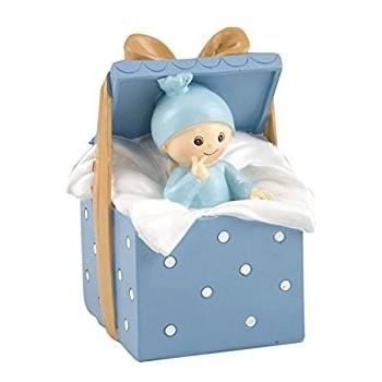 Figura Hucha Bebe Caja Azul