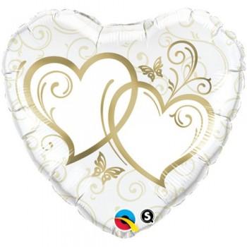"""Globo 36""""Corazon Blanco Y Oro"""