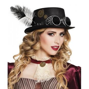 Sombrero Neg.Specspunk C/Pluma