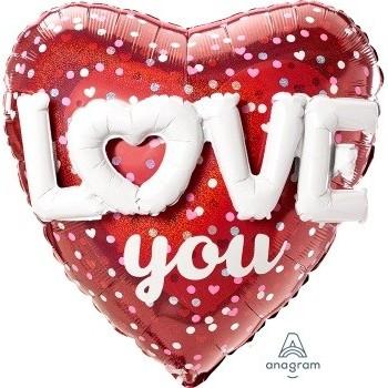 """Globo Corazon """"Love You"""" 91cm"""