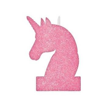 Vela Unicornio Glitter Rosa