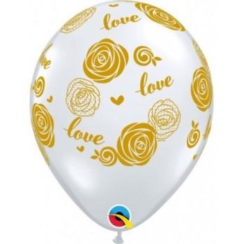 """Globo 11""""Transp.Rosas Love Oro"""