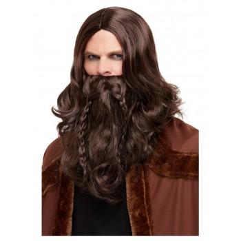 Peluca Y Barba Vikingo Castaña