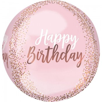 Globo Orbz Rosa Happy Birthday