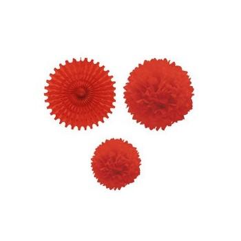 Set 1 Abanico 2 Pompones Rojo