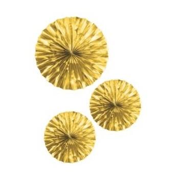 Set 3 Abanicos Papel Oro