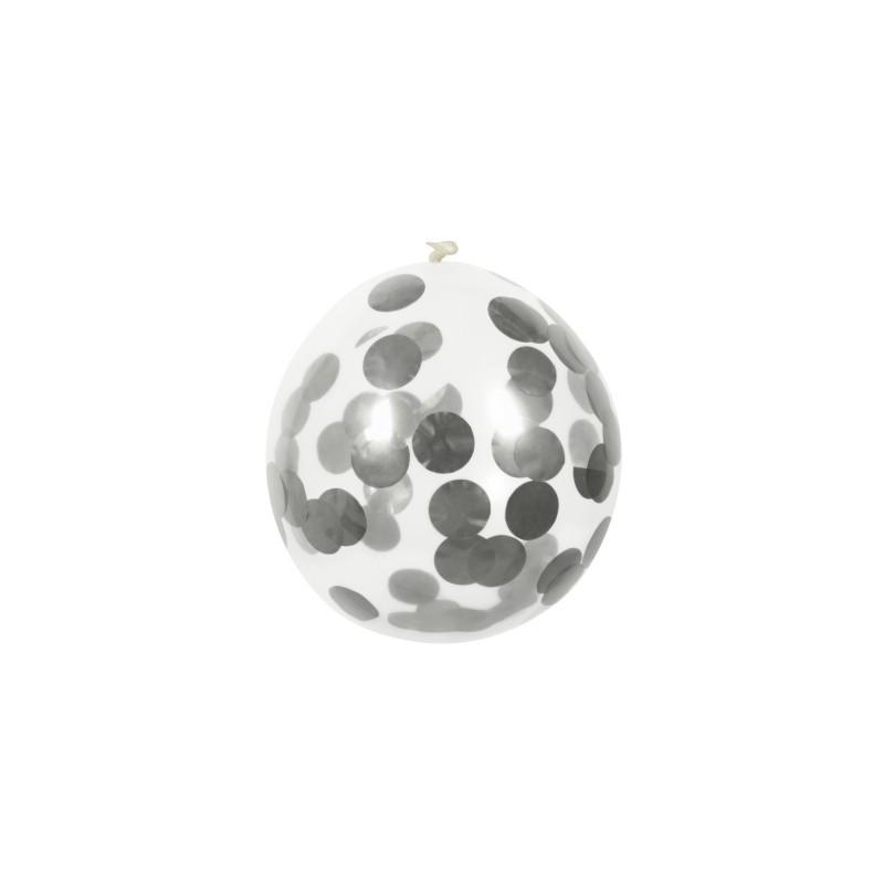 B/5 Globo 30Cm Confetti Plata
