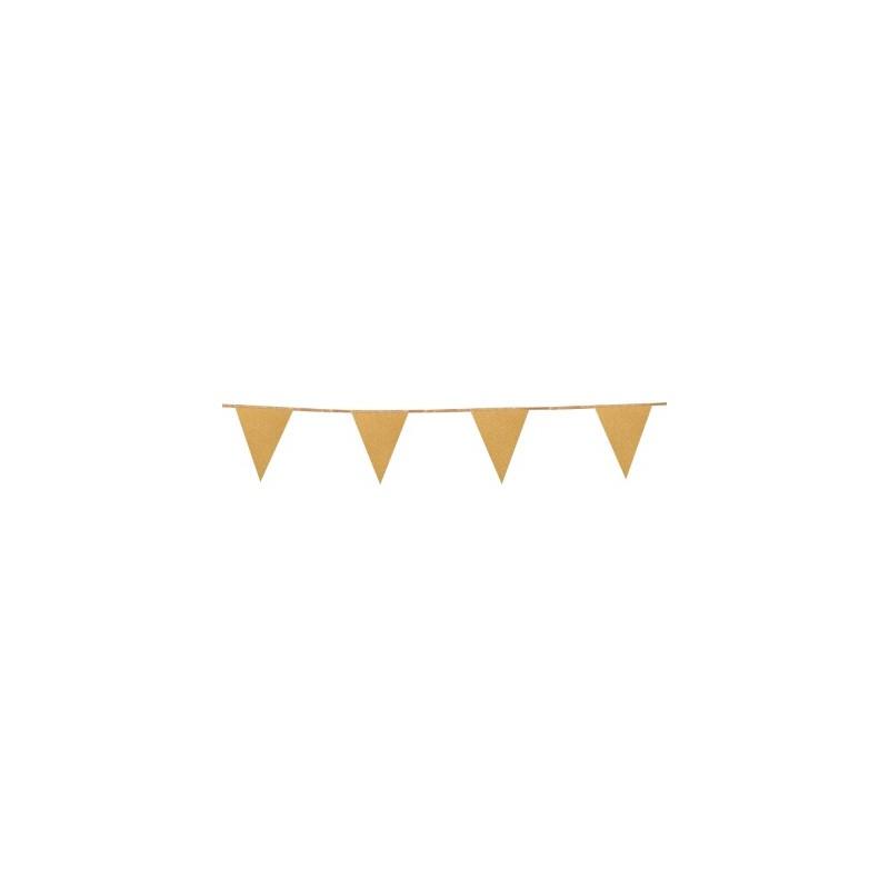 Banderin Papel Oro Glitter 6M