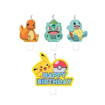 P/4 Velas Pokemon Feliz Cumple