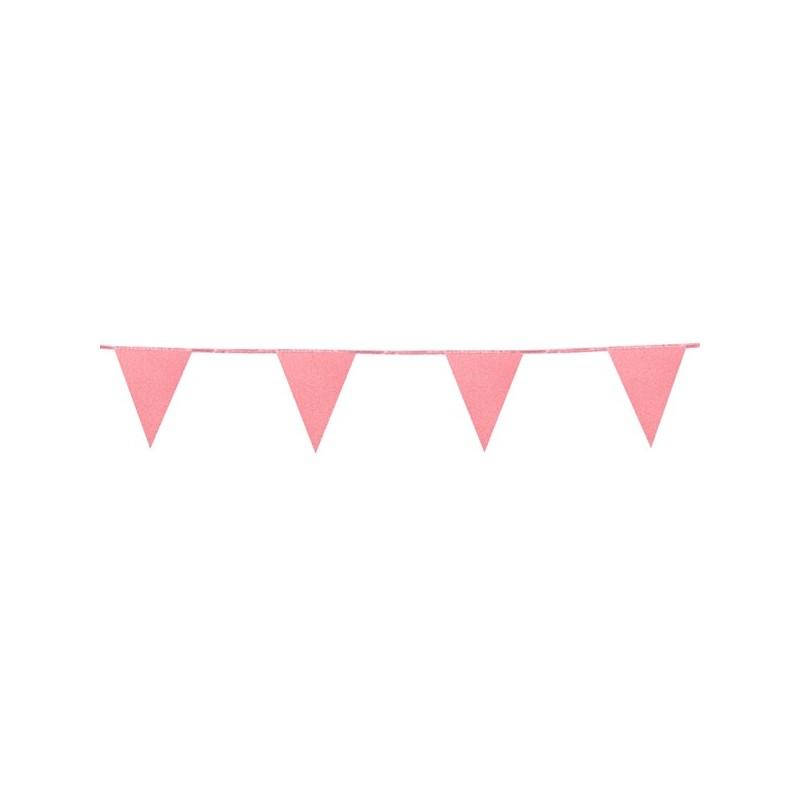 Banderin Papel Rosa Glitter 6