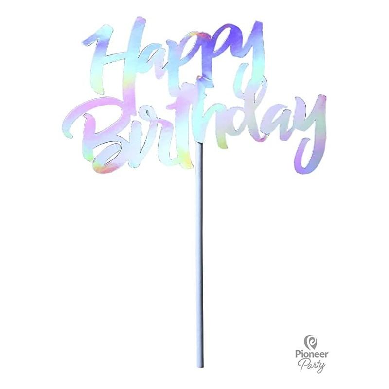 Topper tarta Happy birthday plata 14,5cm