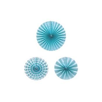 Set 3 Abanico Azul Decorados