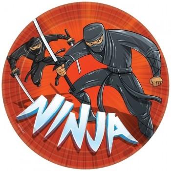 P/8 Platos 23cm cartón Ninja