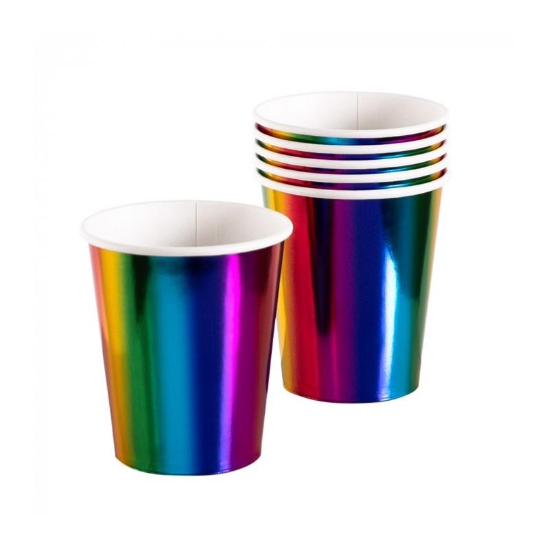 P/6 Vaso Arcoiris Metalizado