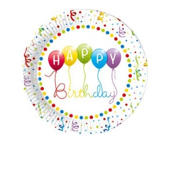 P/8 Plato 23Cm Happy Bday Glob