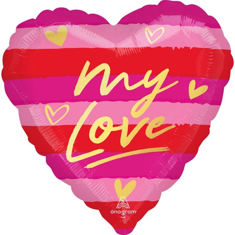 "Globo 18""Corazon Rayas My Love"