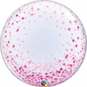 "Globo 24""Burbuja Confetti Rosa"