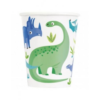 P/8 Vaso Papel Dinosaurios