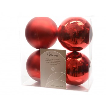 C/4 Bolas 100Mm Rojo Navidad