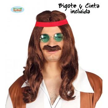 Peluca Hippie C/Bigote