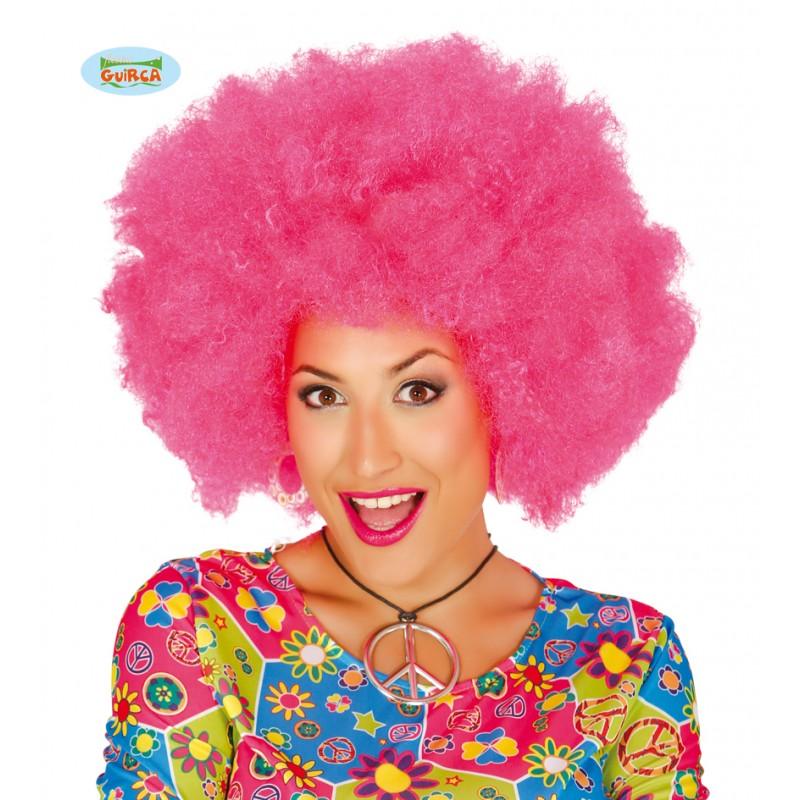 Peluca Afro Rosa Extra