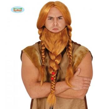 Peluca Trenzas Y Barba Viking
