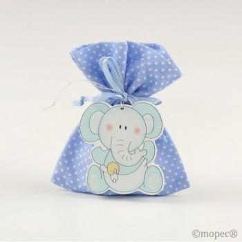 Colg.Elefante Madera Azul Saco