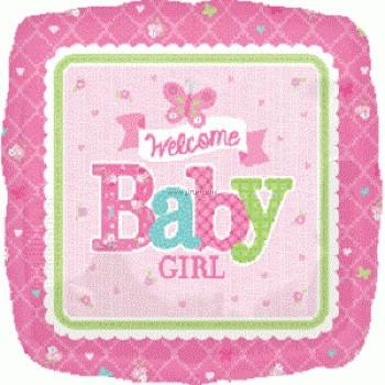 Globo Cuad.Welcome Baby Girl