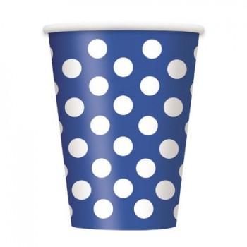 P/6 Vasos Azul Topos Blancos