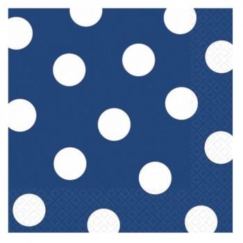 P/16 Serv.Azul Topos Blancos