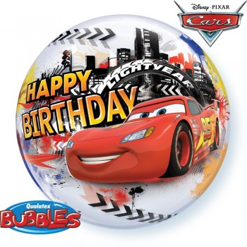 Globo Burbuja Cars Happy Bday