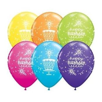 """P/6 Globo 11""""Cake Happy B-Day"""