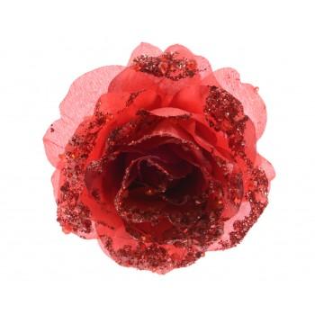 Rosa Roja 14Cm Glitter Clip