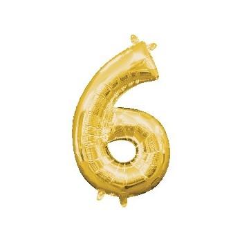 Mini Globo Numero 6 Oro