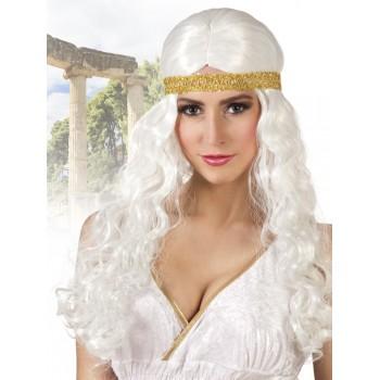Peluca Blanca Diosa Cinta Oro