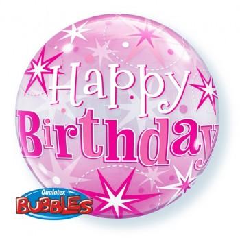 Globo Burbuja Birthday Rosa