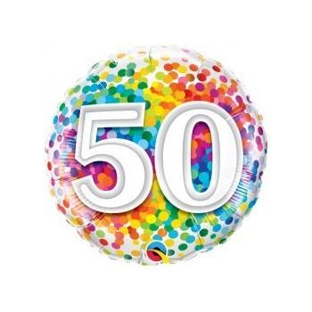 "Globo 18""Nº50 Rainbow Confetti"