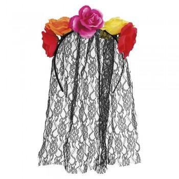 Diadema Flores Color C/Velo