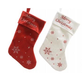 Bota Navidad 25X40 Roja/Blanca