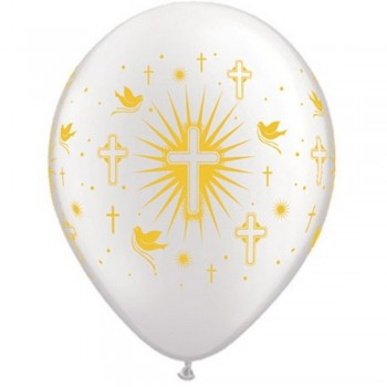 "Globo 11""Blanco Cruz Comunion"
