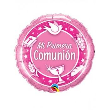 """Globo 18""""Mi 1A Comunion Rosa"""