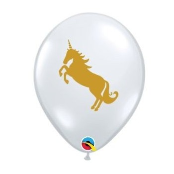"Globo 11""Transp.Unicornio Oro"