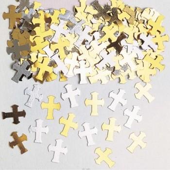 Confetti Cruces Oro/Plata 14G